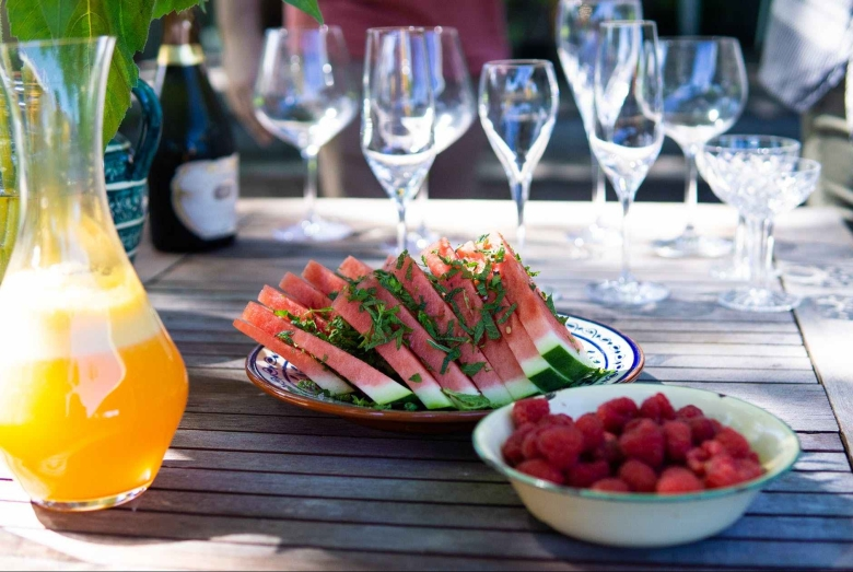plated sliced watermelons on table